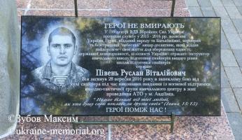 Меморіальна дошка на території в/ч А2900 міста Житомира, де проходив військову службу Півень Р.В.