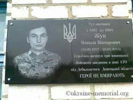 Меморіальна дошка на фасаді будівлі загальноосвітньої школи де навчався Микола Жук
