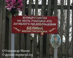 Анотаційна дошка на вулиці імені Миколи Белими.